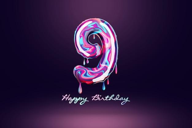 Fond d'anniversaire de neuf ans, nombre de bonbons roses sur fond sombre. concept pour fond de joyeux anniversaire, modèle de brochure, fête, affiche. illustration 3d, rendu 3d.