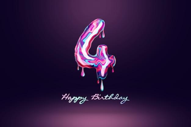 Fond d'anniversaire de quatre ans, nombre de bonbons roses sur fond sombre. concept pour fond de joyeux anniversaire, modèle de brochure, fête, affiche. illustration 3d, rendu 3d.