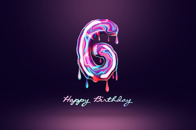 Fond d'anniversaire de six ans, nombre de bonbons roses sur fond sombre. concept pour fond de joyeux anniversaire, modèle de brochure, fête, affiche. illustration 3d, rendu 3d.