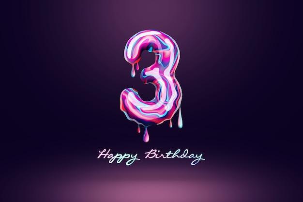 Fond d'anniversaire de trois ans, nombre de bonbons roses sur fond sombre. concept pour fond de joyeux anniversaire, modèle de brochure, fête, affiche. illustration 3d, rendu 3d.