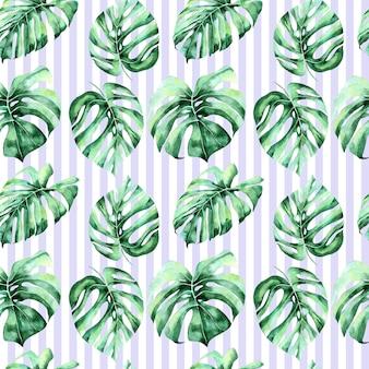Fond aquarelle avec feuilles de palmier et feuille de jungle