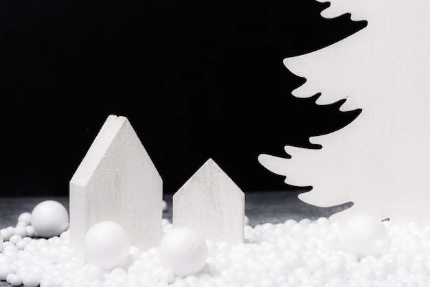 Fond d'arbre de noël décoratif en bois blanc,