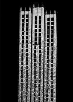 Fond d'architecture de gratte-ciel de brique futuriste