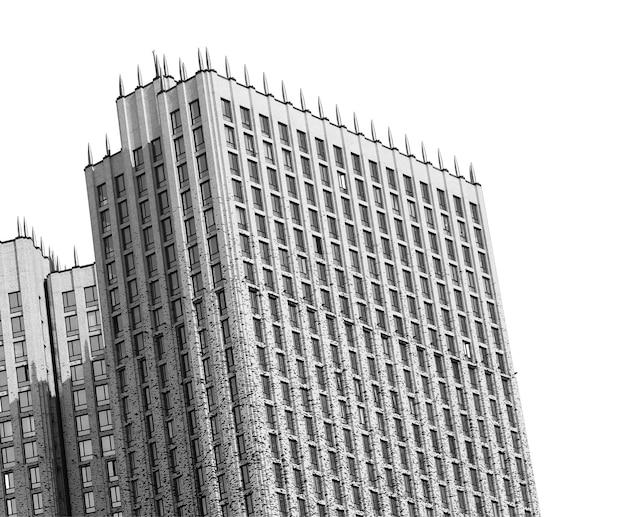 Fond d'architecture de gratte-ciel incliné noir et blanc