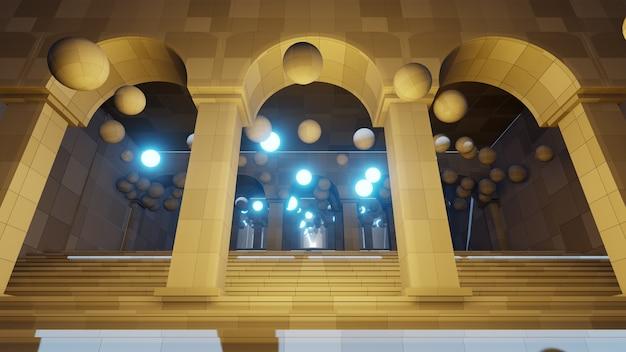 Le fond d'architecture moderne pour le papier peint dans l'architecture et la scène du bâtiment