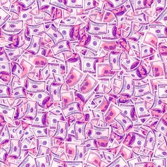 Fond avec de l'argent. texture transparente de billets de 100 dollars dans des couleurs néon à la mode