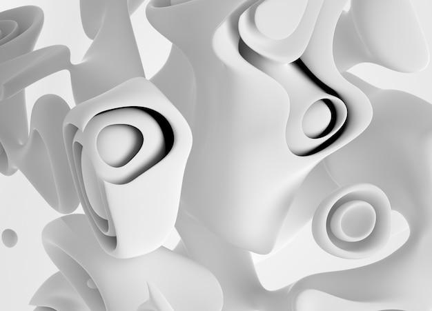 Fond d'art 3d avec une partie de cube surréaliste dans une courbe organique autour de formes bio lisses et douces en matière plastique mate