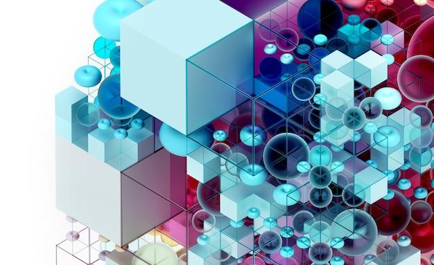 Fond d'art abstrait 3d basé sur de petites et grandes figures de géométrie comme cube en fil