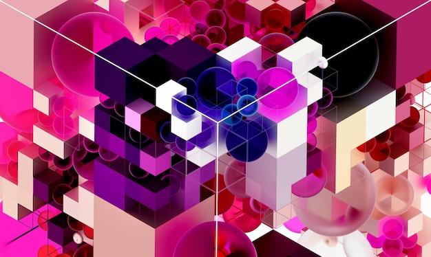 Fond d'art abstrait 3d avec une partie de cube basé sur de petites boules et boîtes en structure métallique