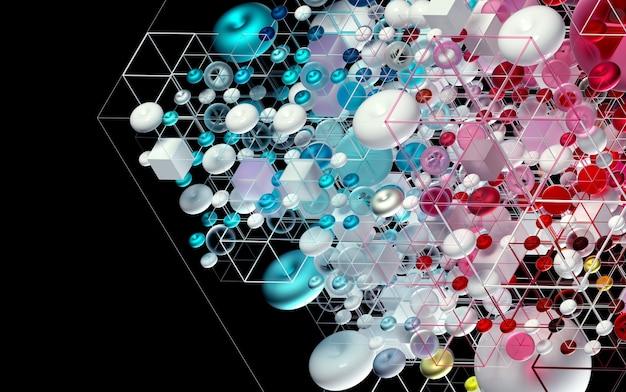 Fond d'art abstrait 3d en vue isométrique basée sur des figures de petite et grande géométrie