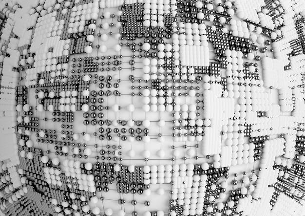 Fond d'art abstrait avec une partie de boule en structure atomique de fil en métal et matière plastique blanche