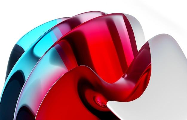 Fond d'art abstrait de rendu 3d avec une partie de boule surréaliste dans des formes biologiques ondulées de courbe organique