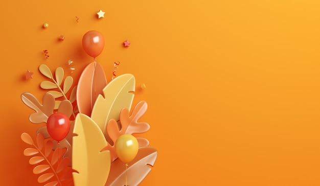 Fond d'automne avec ballon de feuilles d'oranger