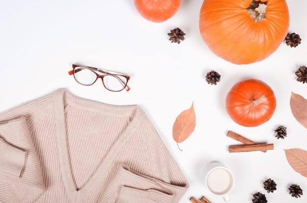 Fond d'automne avec citrouille, cannelle et coton sur fond blanc