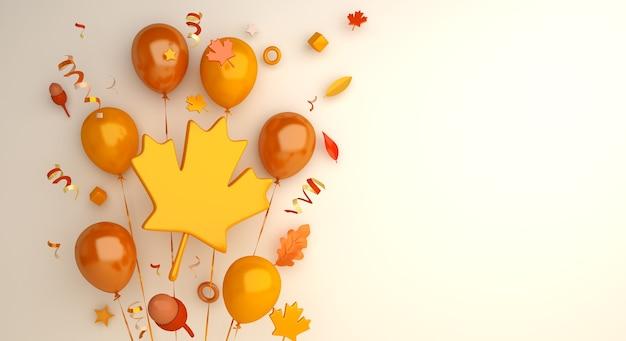 Fond d'automne avec des feuilles d'érable gland ballon