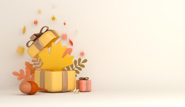 Fond d'automne avec le gland de boîte-cadeau de feuilles d'érable