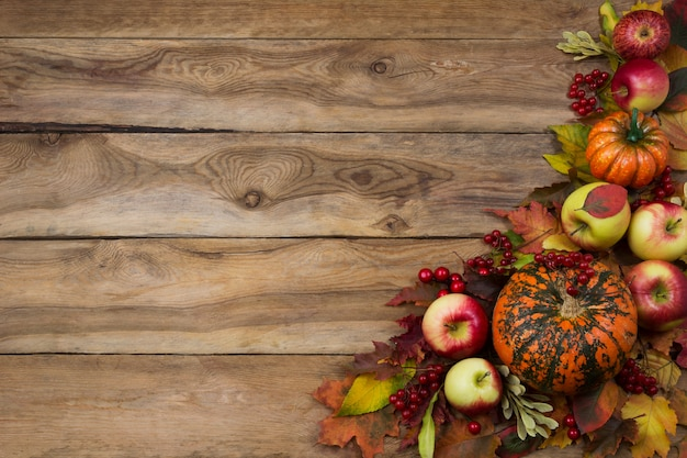 Fond d'automne rustique avec citrouille, pommes, viorne