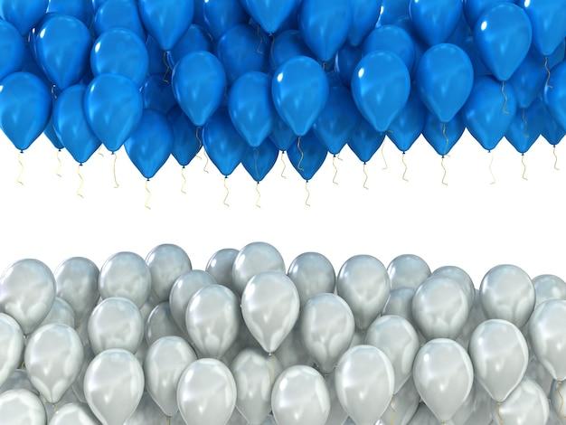 Fond de ballons de fête blancs et bleus isolés sur blanc