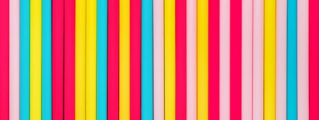 Fond de bannière de pailles colorées vives disposées à la verticale