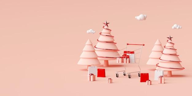 Fond de bannière publicitaire chrsitmas pour la conception web, sac à provisions et cadeau avec panier sur fond rose, rendu 3d