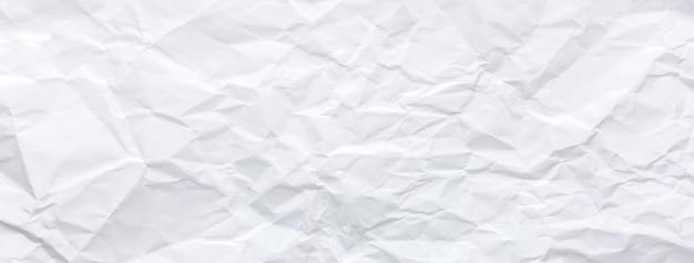 Fond de bannière de texture de papier blanc froissé chiffonné