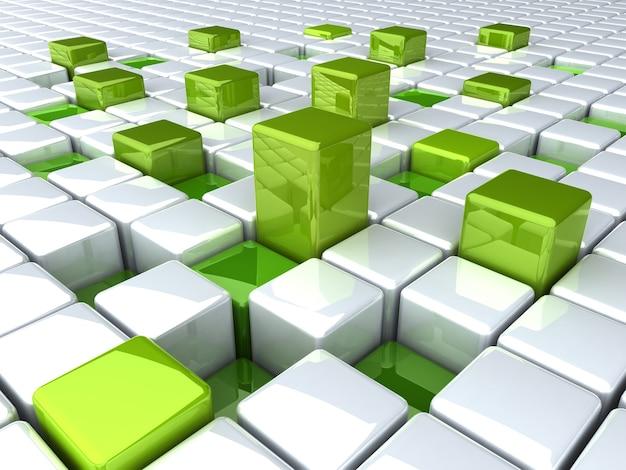 Fond avec des barres vertes abstraites et des boîtes blanches