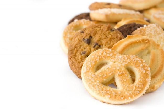 Fond de biscuits au beurre isolé sur blanc