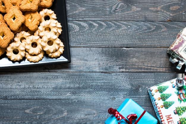 Fond de biscuits cuits à la main de noël