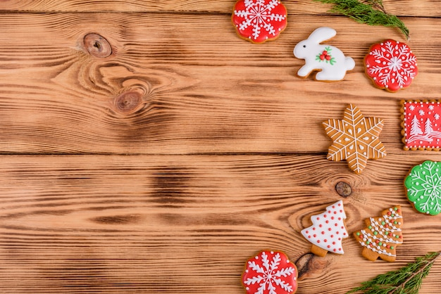 Fond de biscuits de pain d'épice maison de noël