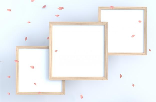 Fond blanc avec cadre photo et coup rose feuilles, branche.