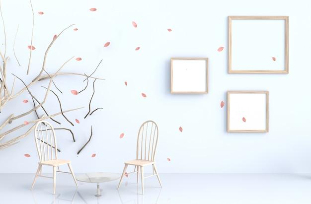 Fond blanc avec cadre photo et feuilles roses, branche, chaise.