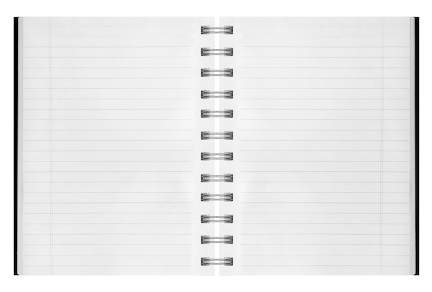 Fond blanc. cahier à spirale papier isolated on white