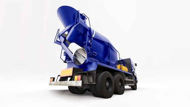 Fond blanc de camion malaxeur à béton bleu. illustration en trois dimensions de l'équipement de construction. rendu 3d.