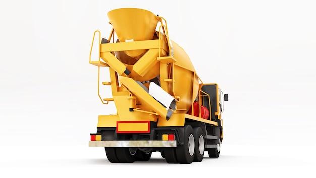 Fond blanc de camion malaxeur à béton orange. illustration en trois dimensions de l'équipement de construction. rendu 3d.