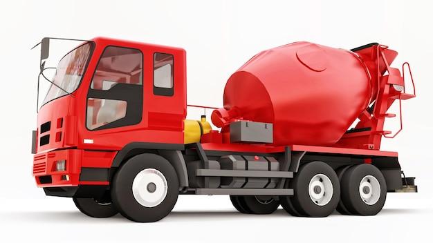 Fond blanc de camion malaxeur à béton rouge. illustration en trois dimensions de l'équipement de construction. rendu 3d.