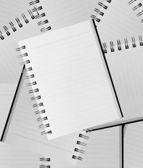 Fond blanc. papier cahier à spirale