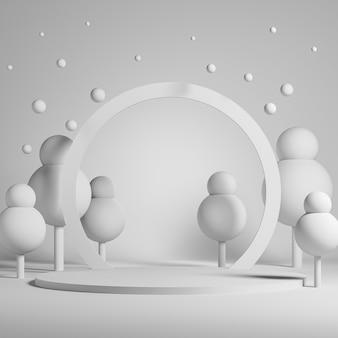 Fond blanc pour la présentation du produit avec arche ronde et arbres sur podium cylindrique