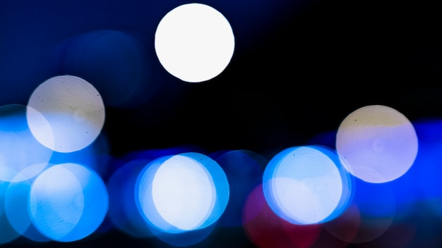 Fond bleu abstrait bokeh lumières brouillées