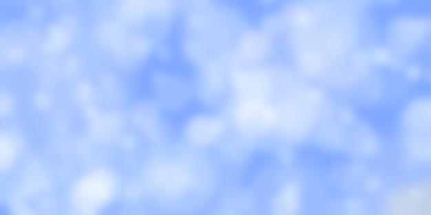 Fond bleu abstrait avec effet bokeh lumières défocalisées floues dans des couleurs blanches