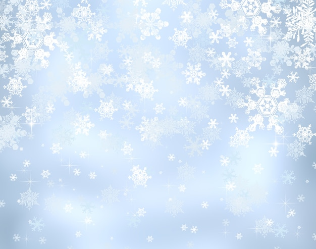 Fond bleu décoratif de noël avec des lumières de bokeh et des flocons de neige