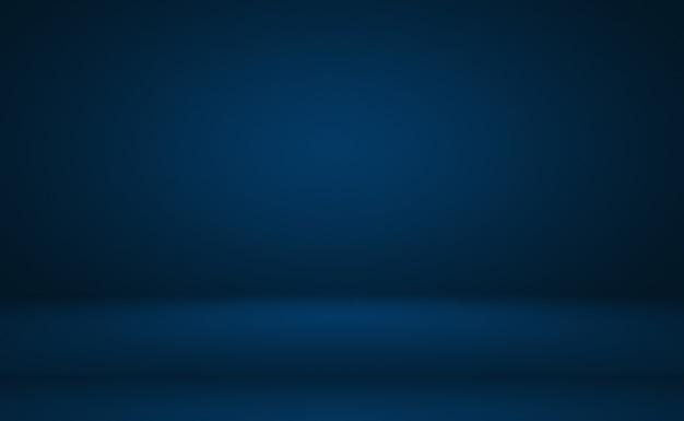 Fond bleu dégradé de luxe abstrait bleu foncé lisse avec bannière de studio vignette noire