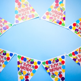 Fond bleu fête d'anniversaire