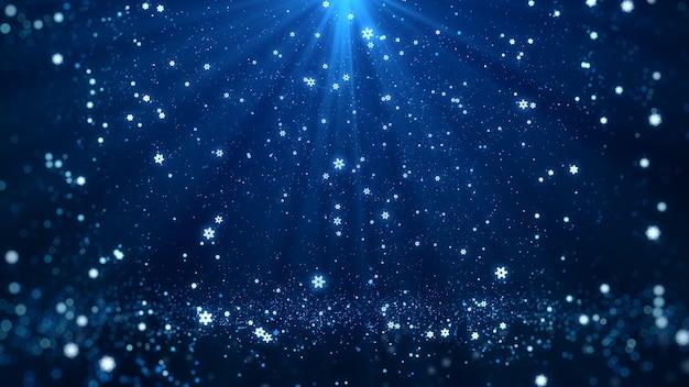 Fond bleu avec des lumières et des étincelles