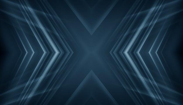 Fond bleu nuit foncé avec néon. rayons et lignes d'une scène abstraite.