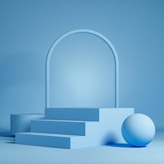 Fond bleu pastel pour la présentation du produit avec escalier podium et arche