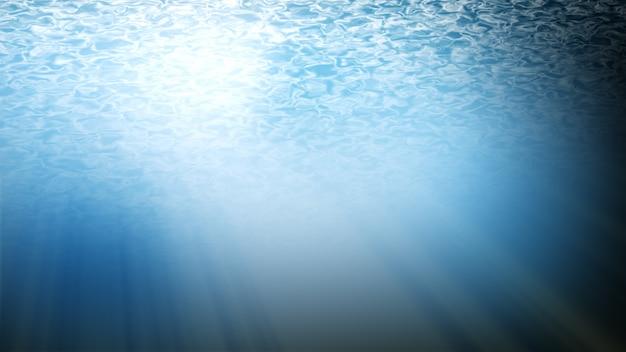 Fond bleu, signature numérique avec des particules de vagues, étincelle.