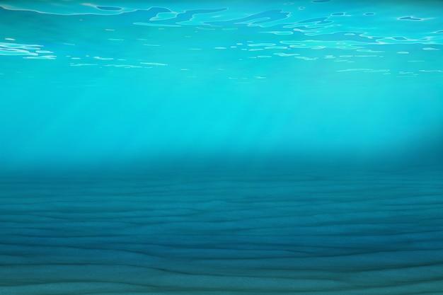 Fond bleu sous-marin en mer, océan, avec volume lumineux. rendu 3d