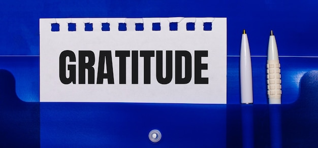 Sur fond bleu, des stylos blancs et une feuille de papier avec le texte gratitude