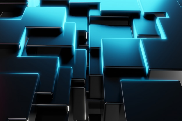 Fond de bloc de construction de cube en métal