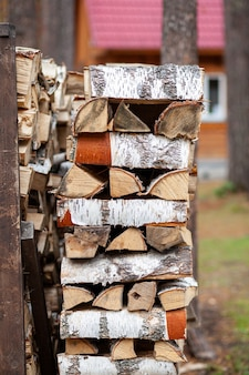 Fond de bois de chauffage de bois coupé pour allumer et chauffer la maison gros plan. un tas de bois avec du bois de chauffage empilé. la texture du bouleau. bannière